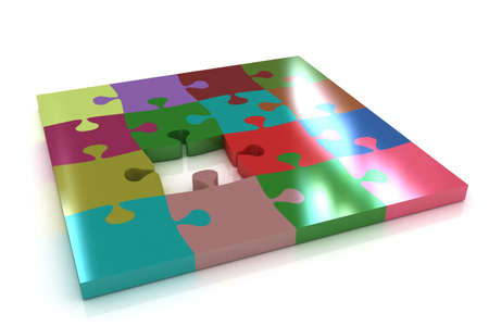 patience: Many-colored puzzle pattern (removable pieces).