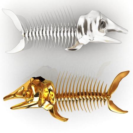 3d metall illustration of fish skeleton on a white background Stock Illustration - 27237601