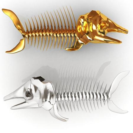 3d metall illustration of fish skeleton on a white background Stock Illustration - 27237602