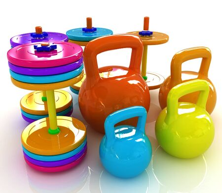 Colorful weights and dumbbells on a white background photo