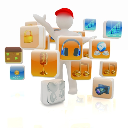 3d man with cloud of media application Icons on a white background photo