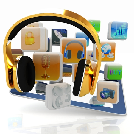 Phone gold on tablet pc with cloud of media application Icons on a white background photo