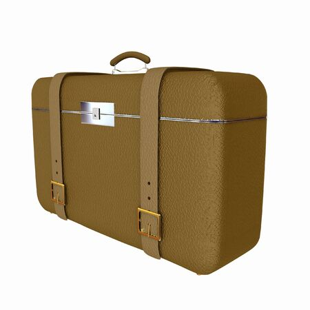 Brown travelers suitcase on a white background photo