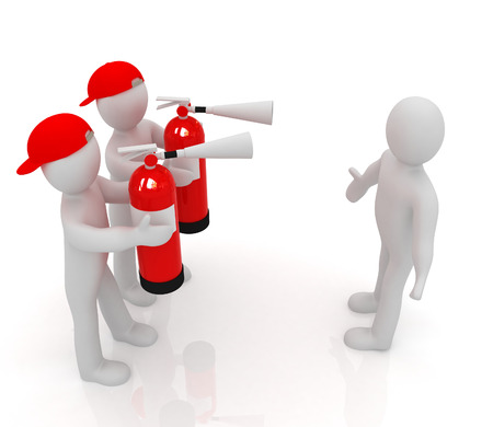 confrontation: 3d mans with red fire extinguisher. The concept of confrontation on a white background