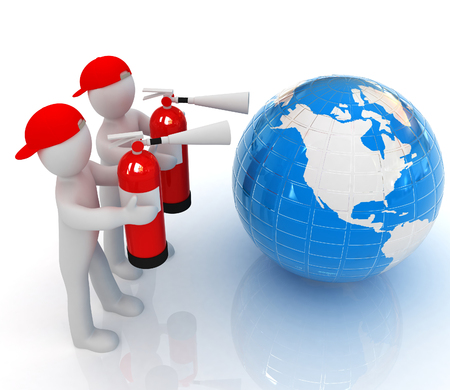 3d mans with red fire extinguisher extinguish earth on a white background photo