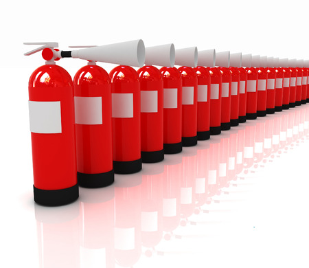 extinguishers: Red fire extinguishers on a white background