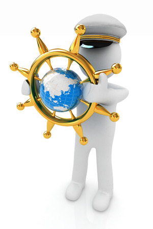 Sailor with gold steering wheel and earth. Trip around the world concept on a white background photo