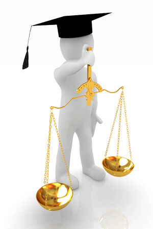 3d man - magistrate with gold scales. Isolated over white  photo