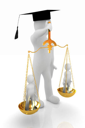 magistrate: 3d man - magistrate with gold scales. Isolated over white  Stock Photo