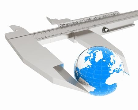 vernier caliper: Vernier caliper measures the Earth. Global 3d concept on a white background