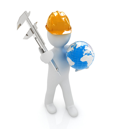 3d man engineer in hard hat with vernier caliper and Earth on a white background photo