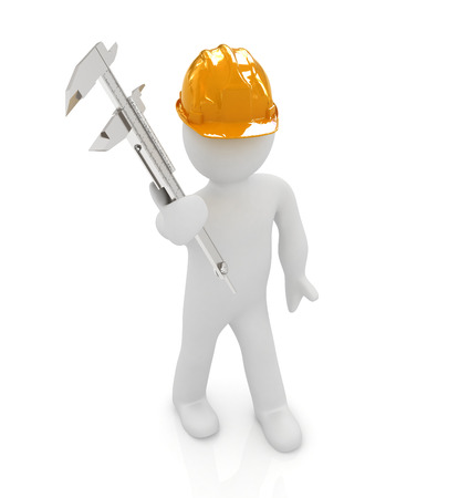 3d man engineer in hard hat with vernier caliper on a white background photo