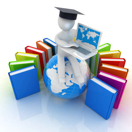 3d man in graduation hat sitting on earth and working at his laptop and books around his on a white background photo