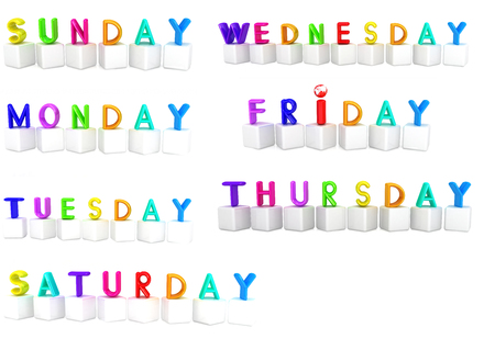 Set of 3d colorful cubes with white letters - days of the week on a white background