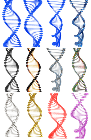 dna strand: Set of DNA structure model on a white background Stock Photo