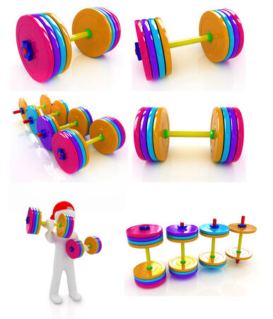 Dumbbells set on a white background photo