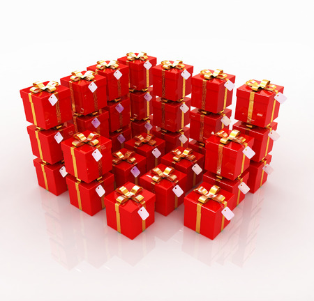 Bright christmas gifts on a white background photo