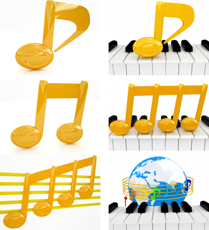 quavers: Note set  on a white background  Stock Photo
