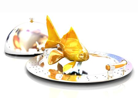 Gold fish on a restaurant cloche on a white background photo
