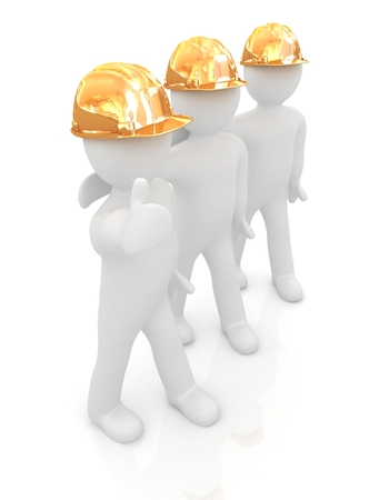 3d mans in a hard hat with thumb up. On a white background  photo