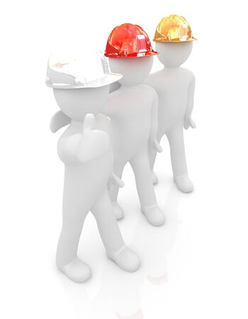 3d mans in a hard hat with thumb up  On a white background  photo