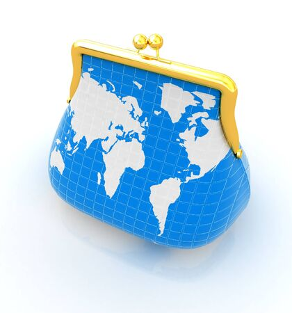 Purse Earth. On-line concept on a white background photo