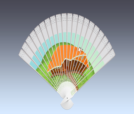 Colorful hand fan isolated on gray photo