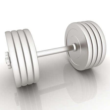 Metalll dumbbell on a white background photo