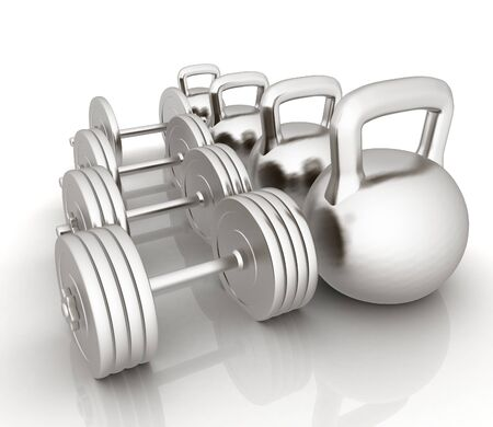 metall: Metall weights and dumbbells on a white background