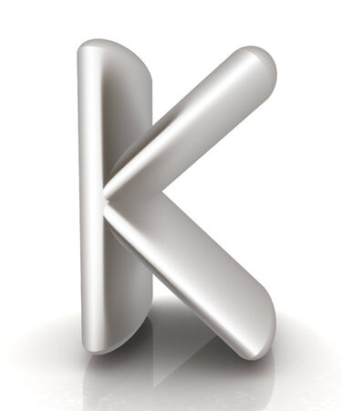 metall: 3D metall letter K isolated on white