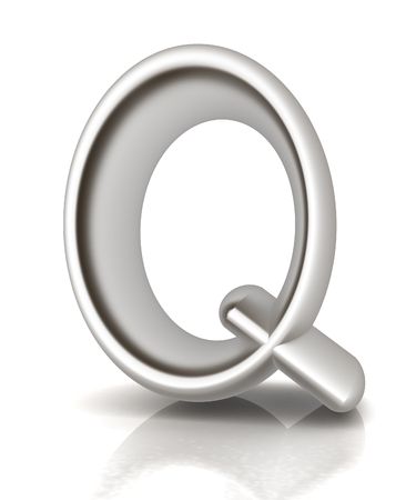 metall: 3D metall letter Q isolated on white