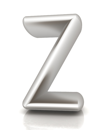 metall: 3D metall letter Z isolated on white  Stock Photo