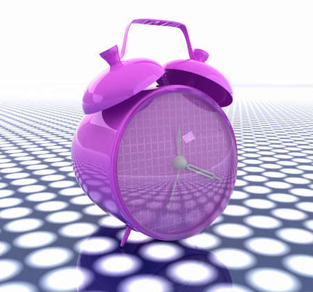 3d illustration of glossy alarm clock. Time concept illustration