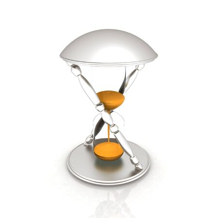sand clock: Clessidra trasparente isolato su sfondo bianco. Icona dell'orologio della sabbia 3d.
