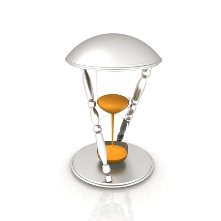 trickle: Transparent hourglass isolated on white background. Sand clock icon 3d illustration.  Stock Photo