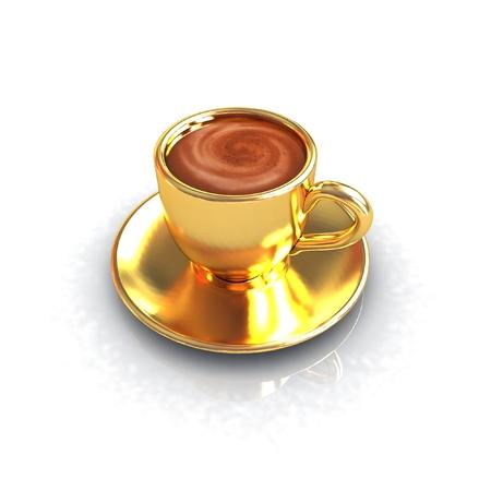 ゴールド コーヒー カップ ソーサー白い背景の上に 写真素材 - 27350628