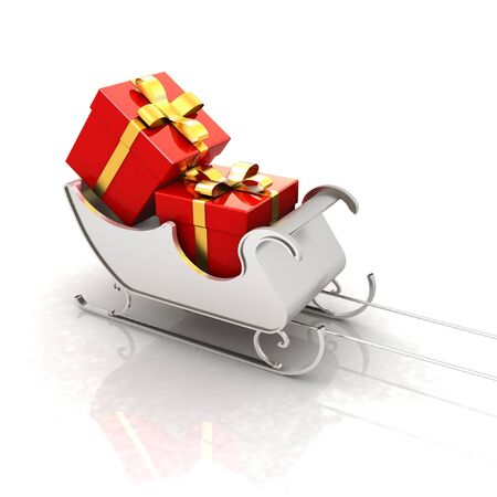 Christmas Santa sledge with gifts on a white background  photo