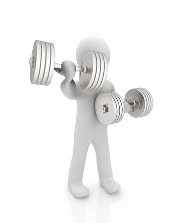 3d mans with metall dumbbells on a white background photo