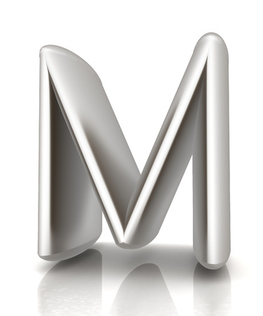metall: 3D metall letter M isolated on white  Stock Photo