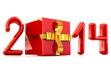 Abstract 3d illustration of text 2014 with present box on a white background  illustration