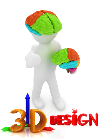 3d people - man with a brain photo