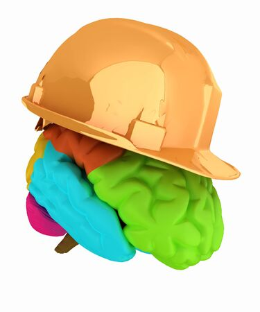 safeness: hard hat on brain Stock Photo