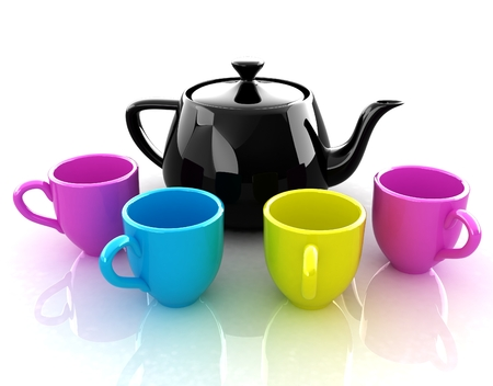 colorfall cups and teapot photo