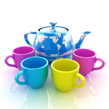 colorfull cups and teapot for earth. Globally. Drink for the entire planet.Concept of communication photo