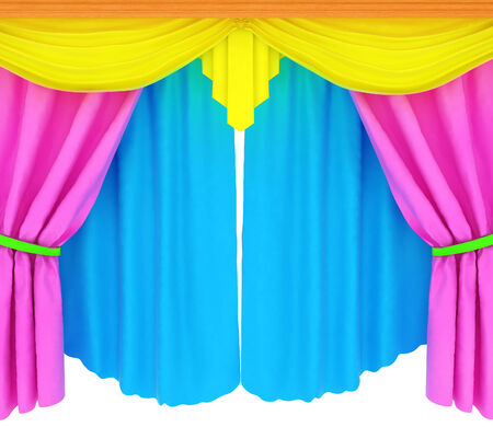 Colorfull curtains isolated on a white background  photo