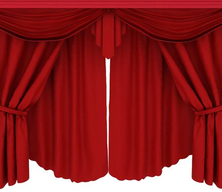 Red curtains isolated on a white background  photo