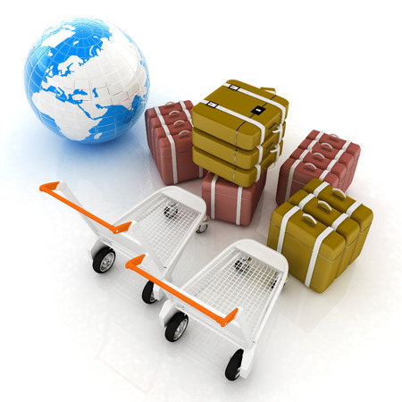 carretilla de mano: Carro para el equipaje en el aeropuerto y en la tierra. Concepto de turismo internacional