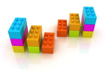 Building blocks efficiency concept on white  photo