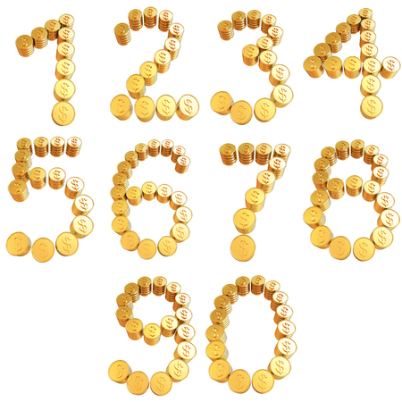 Numbers of gold coins with dollar sign isolated on white background photo