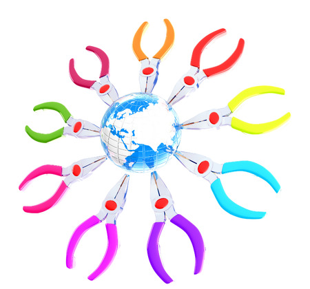 Colorful pliers to work and earth. Global tools concept photo